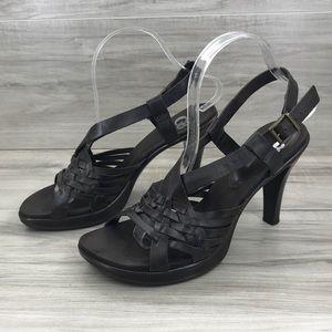 Gianni Bini brown leather heel sandals size 8M